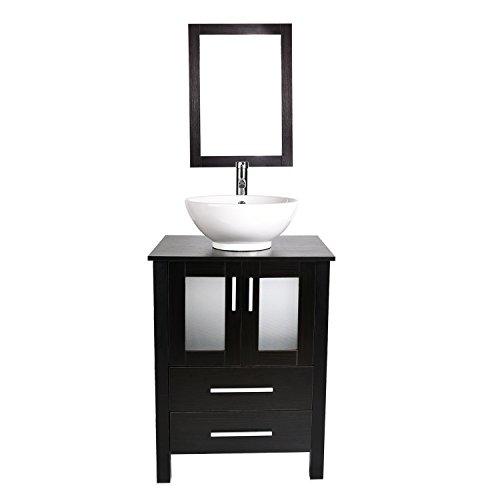 24-Inch Bathroom Vanity, Modern Stand Pedestal Cabinet with Ceramic Porcelain Sink Top, Fixture, with Frame Mirror (Pattern Pedestal Bowl)