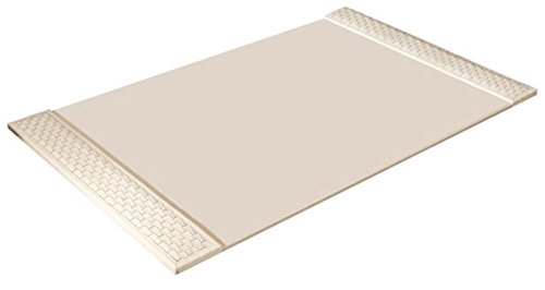 Classic Woven Ivory Cream Leather Desk Blotter Pad | Office Desktop Traditional by Global Views