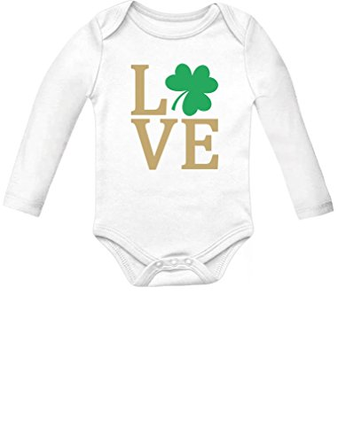 Tstars - Irish Clover Love St Patrick's Day Cute Irish Baby Long Sleeve Bodysuit 18M (12-18M) White -