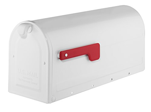 ARCHITECTURAL MAILBOXES 7600W Architectural Mailboxes MB1 Post Mount Mailbox with Red Flag MB1 Post Mount Mailbox, Medium, White