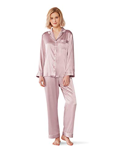(SIORO Womens Pajama Sets Two Piece Pants Set Summer Silk Satin Sleepwear Loungewear PJS Plus Size,Dusty Rose XL)