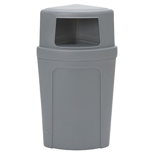 Continental Trash Can with Dome Lid 21 gal Grey Plastic Corner Round - 21 1/2