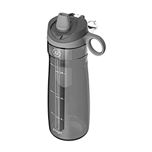 Pogo Tritan Water Bottle with Soft Straw, Grey, 32 Oz.
