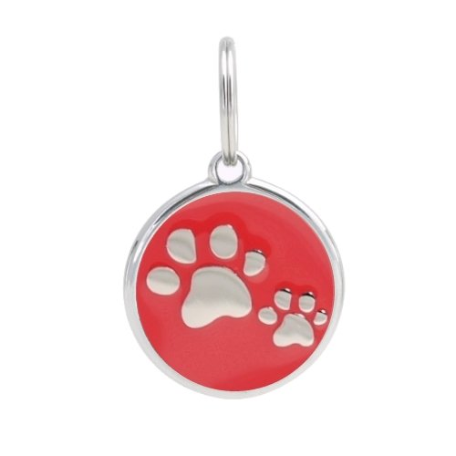 PetTouchiD - Smart Dog ID Tags, QR Code, Online Pet Page, GPS Location (PAWS (Red), Large (34mm))