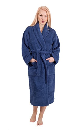 (Luxury Terry Cloth Hotel Bathrobe - Premium 100% Turkish Cotton Robe Unisex (Navy, Large))