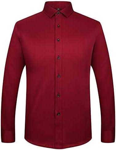 LIBODU Long Sleeved Shirt for Men Slim Fit Male Social Business Dress Work Shirt Men Business Shirts Formal US 2XL