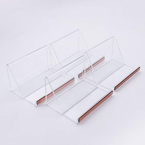 4 Pack Business Card Holder, Desktop Card Holder,  Clear Acrylic Name Card Display Stand for Office Tablet, Business Card Rack Organizer with Rose Gold Mirror Strip, 70 Cards Capacity