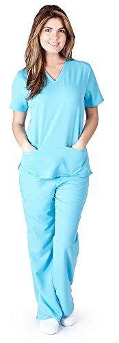 Ultra Soft Scrubs - Premium Womens Junior Fit Three Pocket Top and Yoga Pant Scrub Set, Water Blue 39182-X-Small