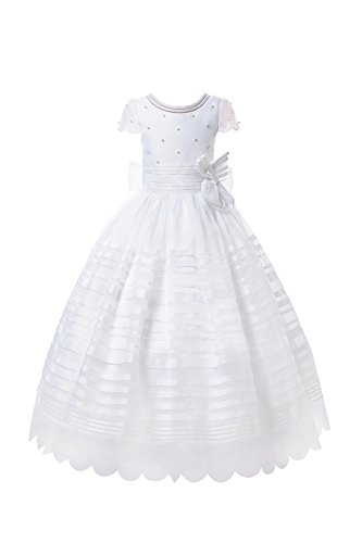 AISLE STYLE First Holy Communion Dresses Flower Girl Organza Ball Gown With Nice Sleeves and White Pearls White8 by AISLE STYLE