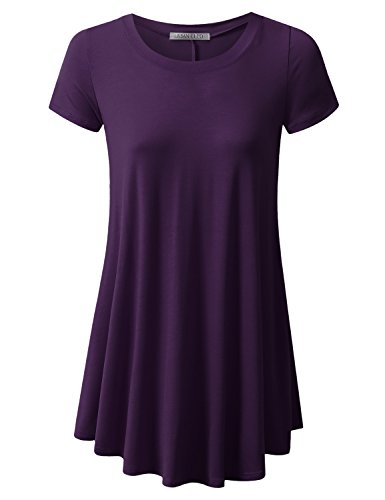 - URBANCLEO Womens Round Neck Elong Tunic Top Mini T-Shirt Dress Plum Medium