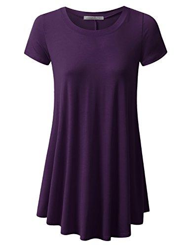 (URBANCLEO Womens Round Neck Elong Tunic Top Mini T-Shirt Dress Plum Medium)