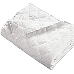 "Hypoallergenic 230 TC Oversized King Down Blanket with Satin Trim - Light Weight - Perfect for Summer - Available in White & Ivory 113"" x 104"" (Oversized King, White)"