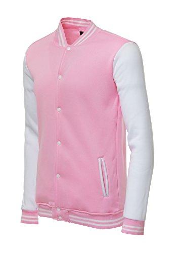 - TRIFUNESS Varsity Jacket Letterman Jacket Baseball Jacket with Long Sleeve Banded Collar Pink