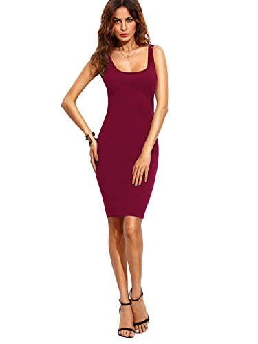 MakeMeChic Women's Basic Scoop Neck Bodycon Sleeveless Mini Tank Dress Burgundy L - Scoop Neck Dress