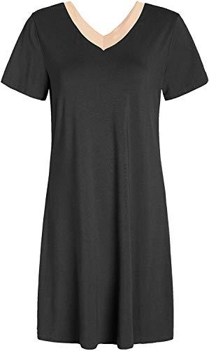 AnloveKiss Women's Sleep Dress Jersey Nightgown Lingerie Nightie Plus Size