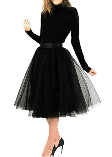 TOAH Women's Knee Length Sheer Bowknot Tutu Skirt A Line Short Knee Length Tutu Tulle Prom X-Large Black ()