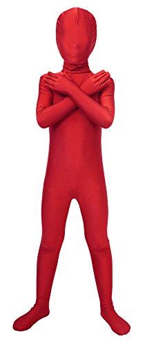 Morphs Costumes (Sheface Kids Spandex Full Bodysuit Fancy Dress Costume (Large, Red))