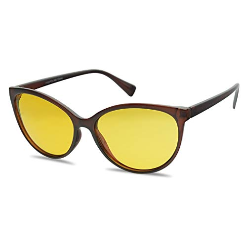 - Night Vision Driving TAC Polarized Anti-Glare Round Cat Eye Sunglasses for Women (Brown Frame | Yellow)