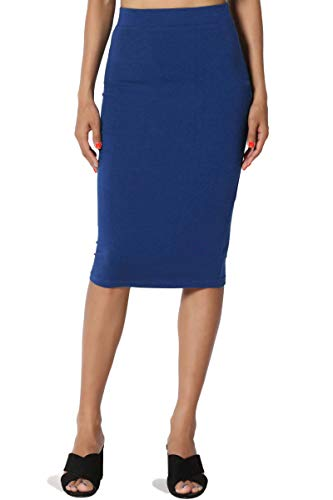 TheMogan Women's Stretch Cotton Elastic High Waist Pencil Midi Skirt Sapphire 2XL