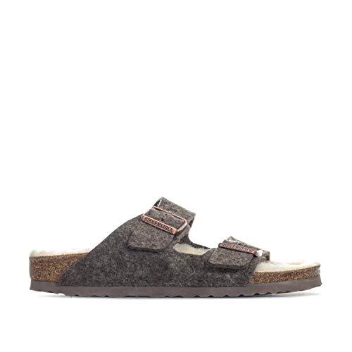 Birkenstock Unisex Adults' Arizona Open Toe Sandals, Brown (Cacao Happy Lamb Beige), 5.5 UK 39 EU