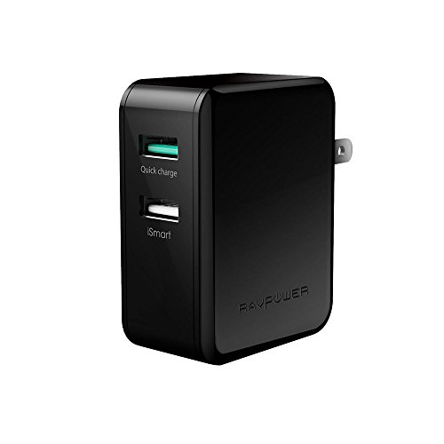 Quick-Charge-20-RAVPower-30W-Dual-USB-Plug-Quick-Charger-Foldable-Pin-for-Galaxy-S7-S6-Edge-Plus-Note-5-4-LG-G4-G5-Nexus-6-and-iSmart-for-iPhone-7-Black