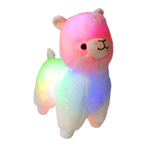 Bstaofy Glow White Llama LED Stuffed Animals Blushing Alpaca Soft Plush Toy Light Up Gift for Kids on Christmas Birthday Halloween Festival Occasions, 14 inch -