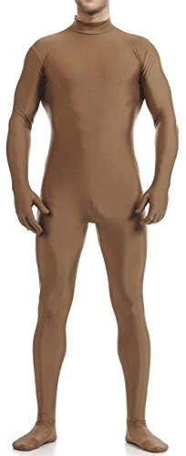 VSVO Men's Unitard Dancewear Lycra Spandex Bodysuit (Kids Large, (Brown Morphsuit)