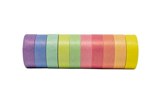 PackU Washi Tape, Set of 10 Solid Pastel Colors Rolls