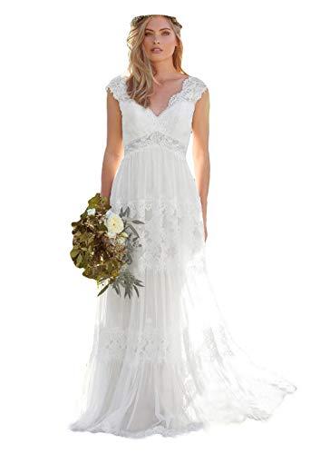 Dressesonline Women's Bohemian Wedding Dresses Lace Bridal Gown Backless Vestido De Noivas US12