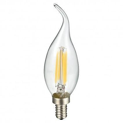 Bombilla vela LED, casquillo E-14, lote de 6 bombillas, modelo rizado