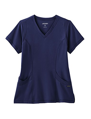 Modern Fit Collection by Jockey Women's Mesh Trim V-Neck Solid Scrub Top Large New Navy Collection V-neck Scrub Top
