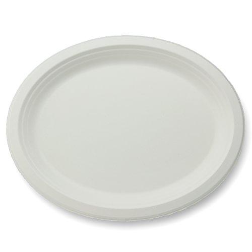 Platter Case Oval - Stalkmarket 100% Compostable Sugar Cane Fiber Oval Platter, 12-Inch, 500-Count Case