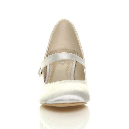 Damen Hoher Absatz Mary Jane Formal Abend Party Ball Pumps Schuhe Größe Silber Satin