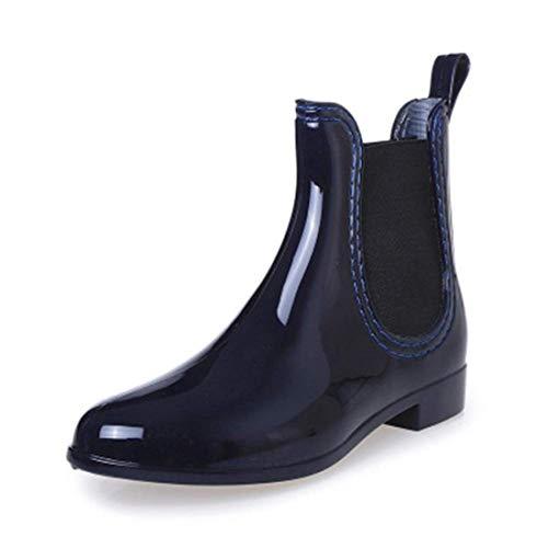 (SYLPHID Womens Rain Boots Ladies Elastic Chelsea Rain Booties Shiny Waterproof Non Slip Ankle Rain Shoes(Blue))