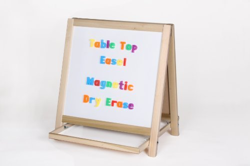 Table Top Two-Sided Easel - Magnetic Whiteboard & Green Chalkboard with Tray (H18.5 x W18ins)