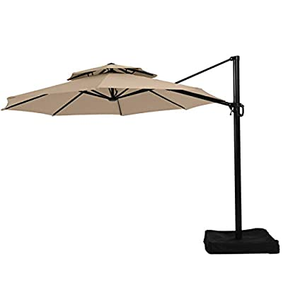 Garden Winds Replacement Canopy Top Cover for The Lowe's Offset YJAF-819R Umbrella - RipLock 350