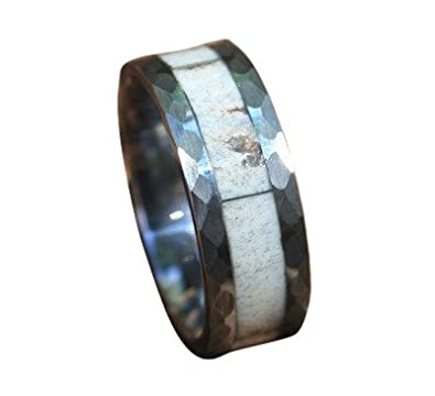 mens tungsten real whitetail deer antler ring with hammered edge comfort fit 8mm - Deer Antler Wedding Rings