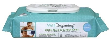 Well Beginnings Green Tea & Cucumber Baby Wipes 64 Ct.