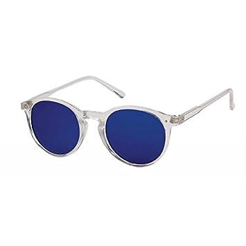 Sonnenbrille Round Glasses Retro Panto 400UV verspiegelt Pünktchen klar xqr8t0xffD