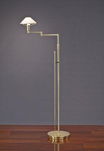 Swing Brass Antique Arm Halogen (Holtkoetter 9434 PB SW Lighting for The Aging Eye Halogen Swing-Arm Floor Lamp, Polished Brass with Satin White Glass, 9.25