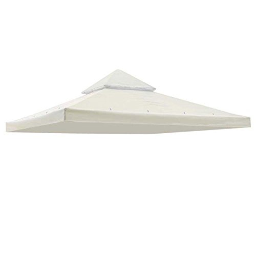 Heavy Duty All Season Ivory Color Water Resistant Back yard Patio Single Sun Shade 10x10 Ft Garden Canopy Gazebo Replacement Top Polyester Cover UV Protection
