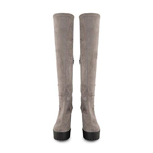 Footwear Sensation - Botas altura encima de la rodilla mujer gris ante