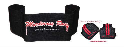www.MurderousRow.com MURDEROUS Row Bench Press (XL: 181-220lbs) + STR8 'Killa Wrist WRAP Set - Pioneer Titan inzer Gym Weight Band Bodybuilding Powerlifting ()