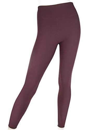 EVCR Compression Leggings for Women - 7/8 Length Non See Through Soft Athletic Yoga Pants for Workout, Malbec, Large