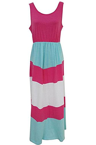 Summer Outfits Daughter Rose Tank BYM Sleeveless Long Mommy Dress Print white Striped Maxi Casual E1w7qtF57