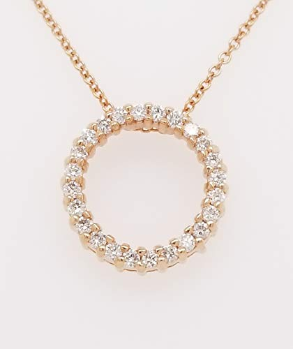 Round Diamond Circle of Life Pendant Necklace, 14K Gold, Adjustable Chain (1/3ct, G-H Color, SI2-I1 Clarity) (Rose-Gold) ()