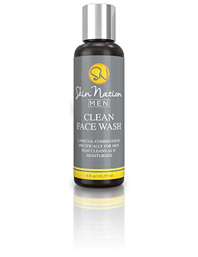 Clean Face Mens Face Wash | Clarifying Activated Charcoal Cleanser for Men | Tea Tree Oil, Moisturizing, Antioxidants | with Organic Natural Ingredients | Skin Nation by Michelle Stafford