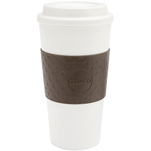 ia Double Wall Insulated Travel Mug with Non-Slip Sleeve, 16-Ounce, White/Brown ()