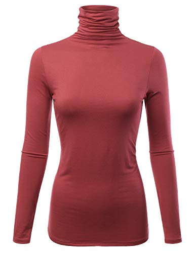 Womens Long Sleeve Light Weight Turtleneck T-Shirts Top Sweater (CLLT002) Rust L