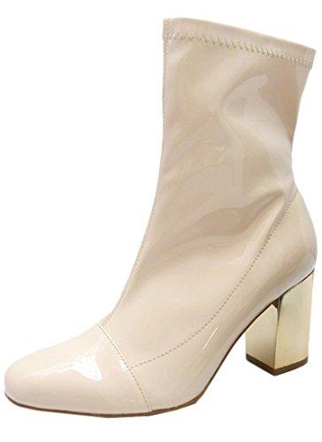 Wild Diva Women's Enamel Patent Metallic Stacked Chunky Heel Boot (7 B(M) US, Nude)